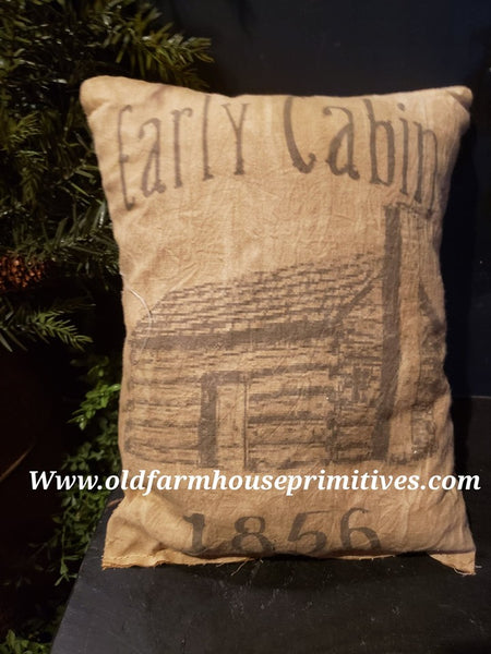 "#PFP14 Primitive Farmhouse ""Early Cabin"" Pillow (Made In USA)"