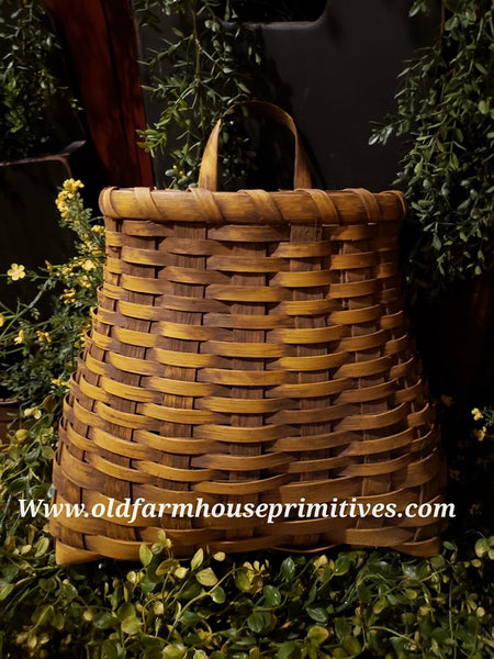 "#PBBGN18 Primitive Mustard With Brown Handmade ""French Wall"" Basket (Made In USA)"