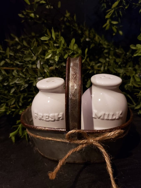 #SD8 Farmhouse Fresh Milk Salt and Pepper Shakers With Galvanized Caddy.