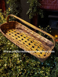 #PBBGN226  Primitive Handmade Mustard With Brown Gathering Basket (Made In USA)