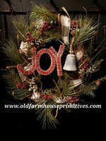 "#RS45 Primitive Christmas ""JOY"" Grapevine Wreath"