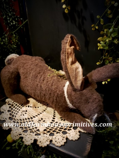 #PBM2 Primitive Laying Down Chocolate Brown Rabbit (Made In USA)