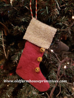 #MCCRS Primitive Red Stocking Ornament  (Made In USA)