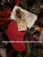 "#PCS2 Primitive Stocking Ornament ""Merry Christmas"" (Made In USA)"