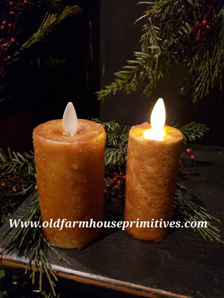"#RJ167 Primitive Flameless Candle ""Mustard"" (Made In USA)"
