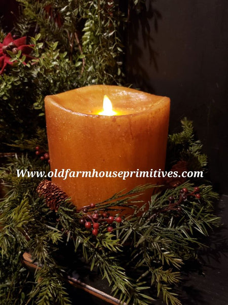 #RJ32 Primitive Flameless Single Wick Mustard Candle (Made In USA)