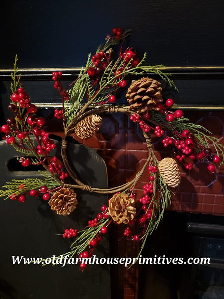"#CBCCR3 Cumberland Red Berry 6.5"" Mini Wreath #1 Seller"