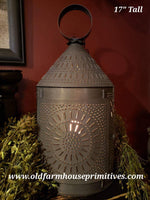 "#BTL2 Primitive 17"" Tall Fireside Tin Electric Lantern (Made In USA)"