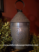 "#BTL3 Primitive 15""Tall Fireside Tin Electric Lantern (Made In USA)"