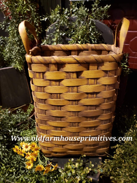 #PBBG855 Primitive Handmade Mustard Basket With Handles (Made In USA)