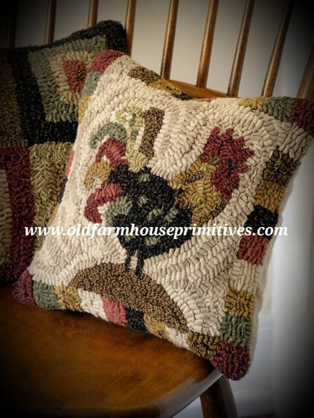 #HSD5 Primitive Red Rooster Hooked Wool Pillow