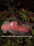 #PRTC3 Wood Red Truck With Christmas Tree Hanging  (Made In USA!)