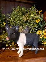 "#CY128D Craig Yenke Small Standing ""Black & White"" Pig (Made In USA)"