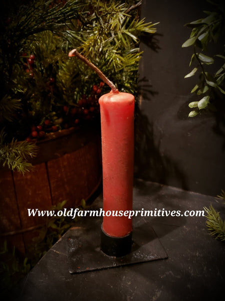 #PBBWTC5 Primitive Colonial Tavern Red Beeswax Candles  (Made In USA)