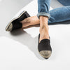 Exclusive Slip-On Bronte Black femme ANGARDE coton summer afterwork noir bout doré casual chic