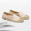 Exclusive Slip-On Bronte Beige femme ANGARDE coton summer afterwork beige bout doré vue biais
