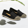 Exclusive Slip-On Bronte Black femme ANGARDE coton summer afterwork noir bout doré vue biais