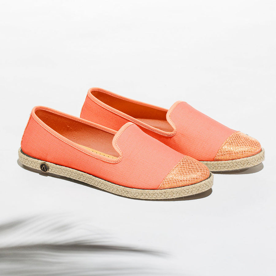 Exclusive Slip-On Bronte Salmon femme ANGARDE coton summer afterwork saumon bout doré casual chic