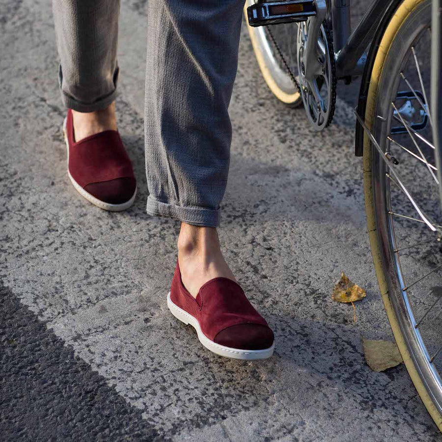 Slip-on sneaker cuir demi-saison Sunburn Bordeaux biais