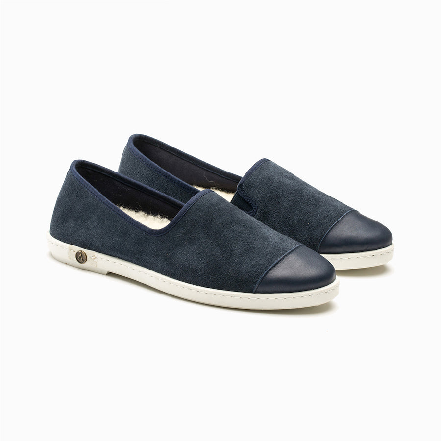 Chausson Sunburn Navy Homme ANGARDE leather bleu marine casual chic