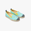 Collab Slip-On BANDY BUTTON Enfant ANGARDE coton sunrise summer palmiers vert d'eau jaune vue biais