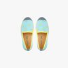 Collab Slip-On BANDY BUTTON Enfant ANGARDE coton sunrise summer palmiers vert d'eau jaune vue dessus