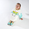 Collab Slip-On BANDY BUTTON Enfant ANGARDE coton sunrise summer palmiers vert d'eau jaune fille