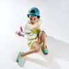 Collab Slip-On BANDY BUTTON Enfant ANGARDE coton sunrise summer palmiers vert d'eau jaune garçon