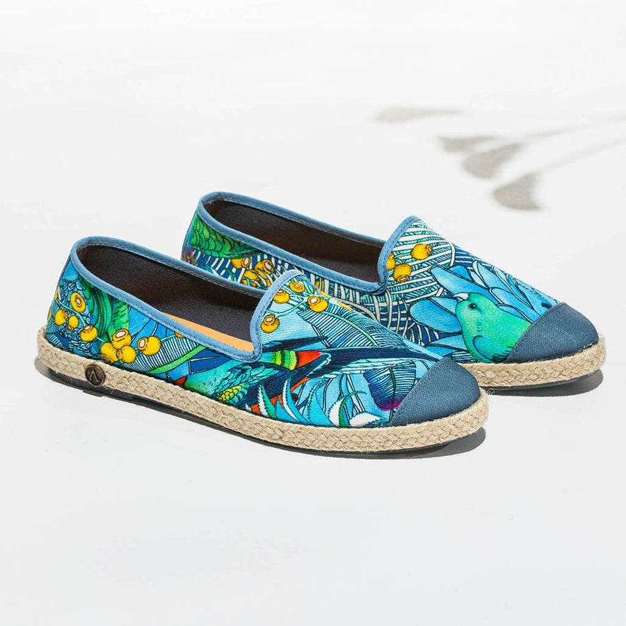 Collab Slip-On Perroquet FORGET ME NOT femme ANGARDE coton summer sunrise imprimé tropical casual chic