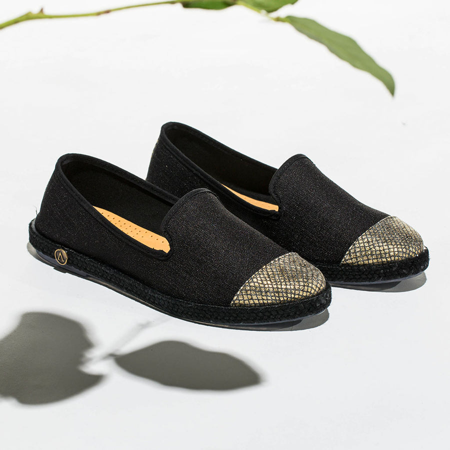 Exclusive Slip-On Bronte Black femme ANGARDE coton summer afterwork bout doré tresse noir casual chic