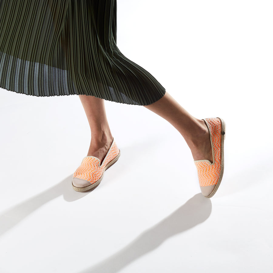 Exclusive Slip-On Darling's Fluo Orange femme ANGARDE coton summer afterwork fluo orange beige vue biais