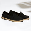 Exclusive Slip-On Kings Black femme ANGARDE coton summer afterwork noir bout façon python vue biais