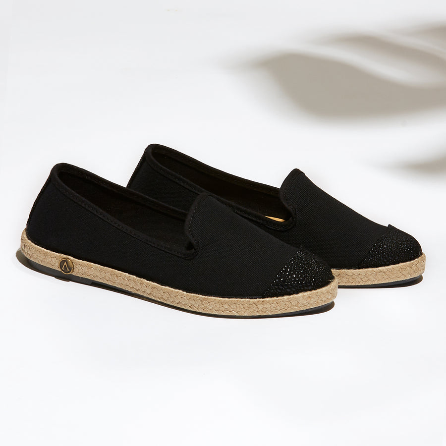 Exclusive Slip-On Kings Black femme ANGARDE coton summer afterwork noir bout façon python casual chic