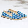 Exclusive Slip-On Paddington Jeans femme ANGARDE coton summer afterwork fleurs brodées bleu vue biais
