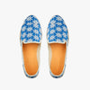 Slip On exclusive Femme Paddington ANGARDE summer afterwork coton jeans tissus bleu broderies creme vue dessus