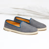 Leather Slip-On Cuir Cool Grey Homme ANGARDE summer afterwork gris vue biais