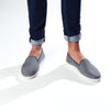 Leather Slip-On Cool Grey Homme ANGARDE leather summer afterwork gris casual chic