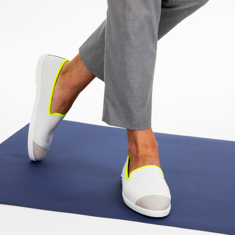 Leather Slip-On Cuir Trial Homme ANGARDE summer afterwork blanc et jaune casual chic