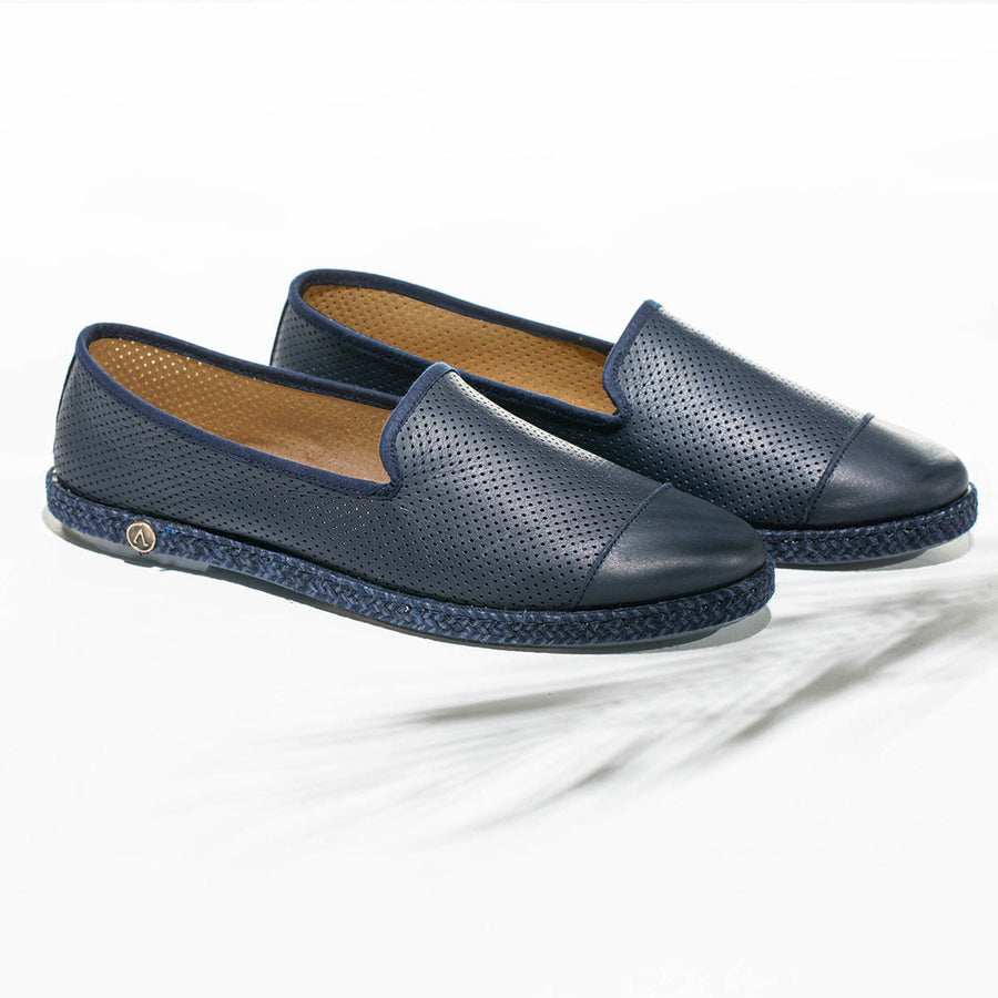 Leather Slip-On Cuir Dark Blue Homme ANGARDE summer afterwork bleu nuit casual chic