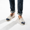 Leather Slip-On Cuir Dual Homme ANGARDE summer afterwork beige et marine casual chic