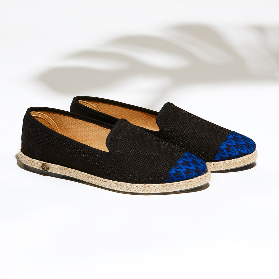 chaussures été Leather Slip-On Homme Angarde Cuir Porto-Novo Bleu collab BlackHats paris cuir perforé noir wax porté