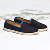 Leather Slip-On Cuir Indigo Blue Homme ANGARDE summer afterwork bleu indigo vue biais