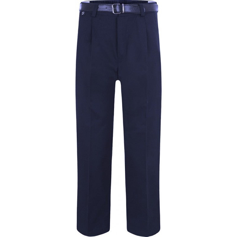 BOYS Garbardine Trousers with Belt (Black/Grey/Navy)