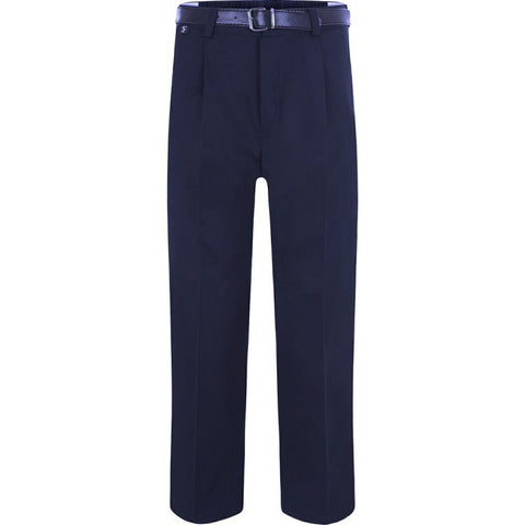 BOYS Garbardine Trousers with Belt (Black/Grey/Navy) - School Brands