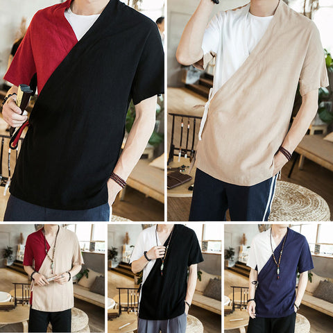 Dual Color Linen Side Cut Linen Shirts