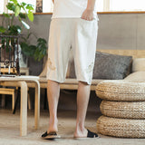 Linen Shorts With Cloud Design