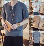 Sleeve Pattern Linen Button Shirts V2