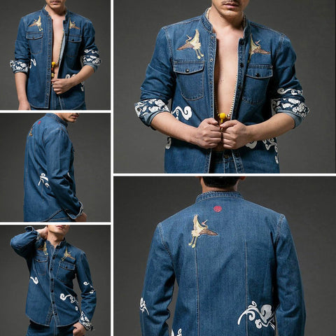 Crane Embroidery & Clouds Print Jeans Shirt
