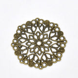 50 Bronze Tone Filigree Flower Wraps