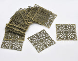 50 Bronze Tone Square Filigree